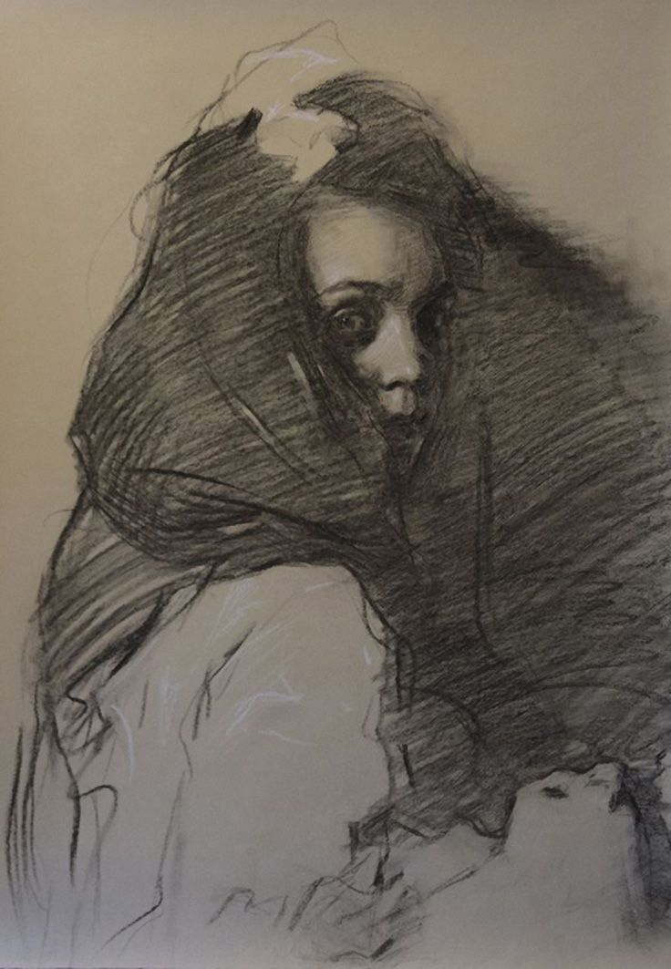 """""""Sfumato"""" by Teresa Oaxaca, charcoal with white chalk, female portrait drawing on Hahnemuhle, 2014."""