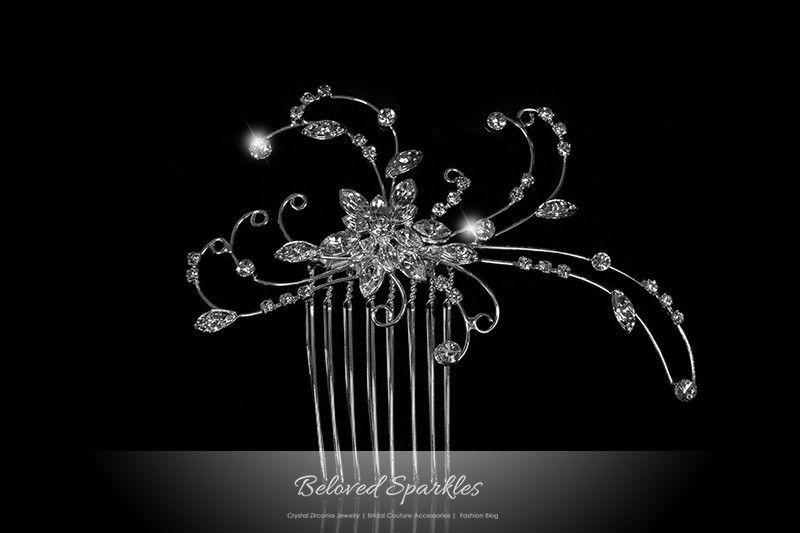 Janet Art Deco Floral Hair Comb | Swarovski Crystal