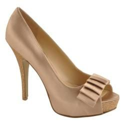 @Overstock.com - This beautiful open toe pump features a stiletto heel, a platform sole and a layered toe decoration.