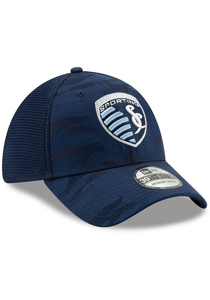 big sale c1611 931a3 New Era Sporting Kansas City Mens Navy Blue Camo Front Neo 39 THIRTY Flex  Hat,