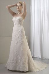 Venus wedding dress/gown- ivory sheath style wedding dress with lace overlay, strapless with sweetheart neckline. For the Bride Boutique Ft. Myers, Florida