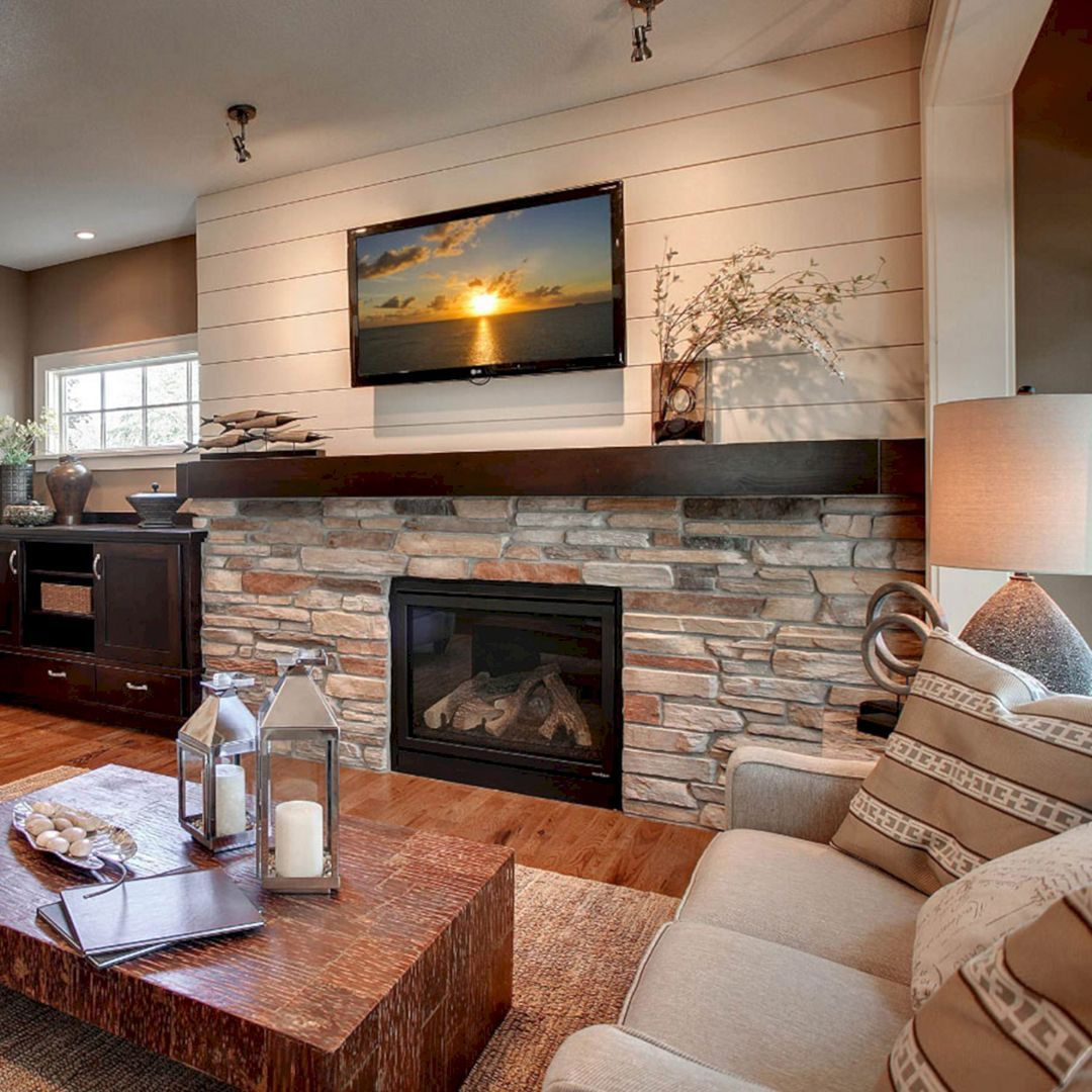 45 Modern Family Room With Beautiful Stone And Shiplap: family room design ideas with fireplace
