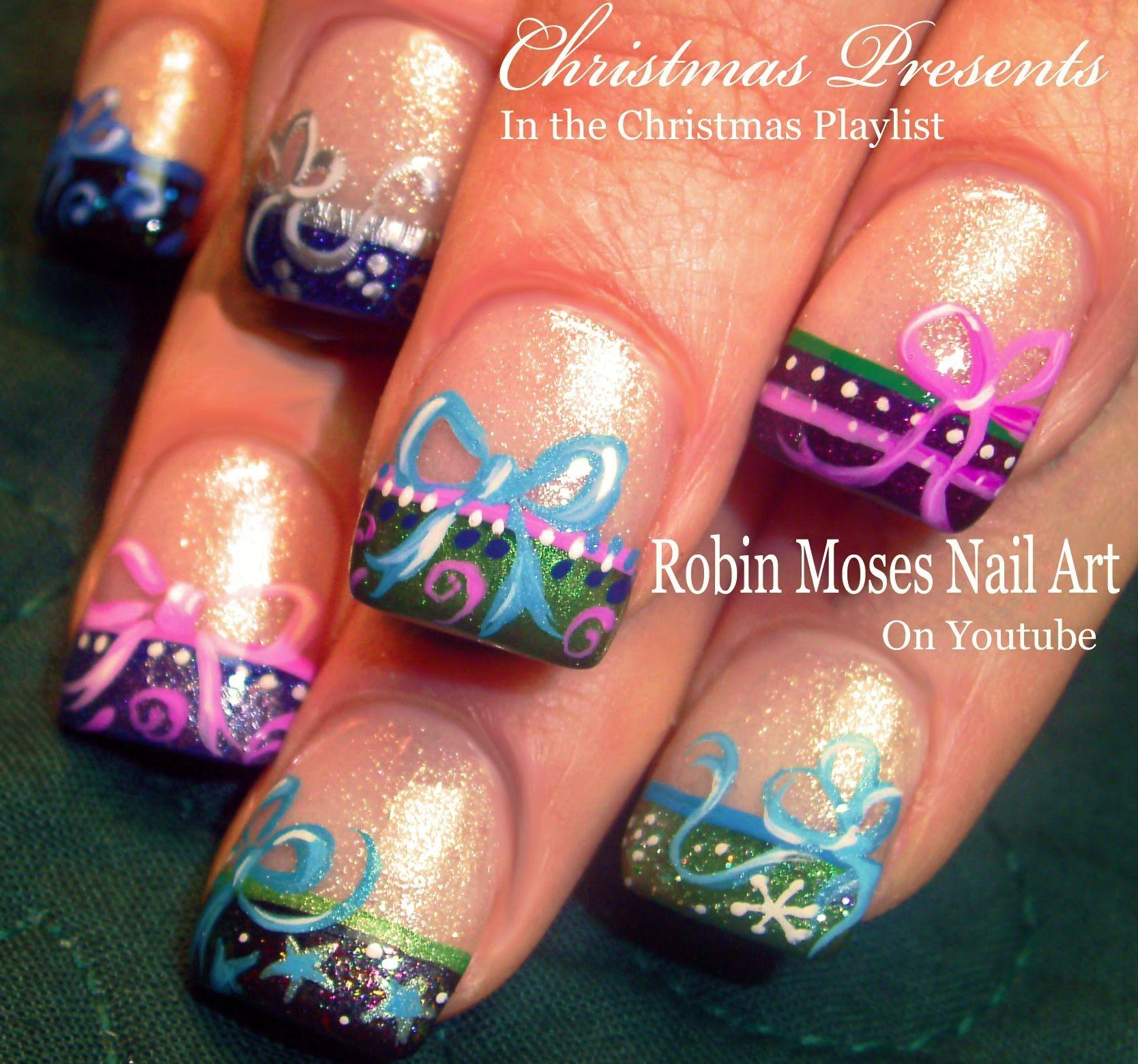 christmas present tips with bows nails tutorial | cute xmas nail