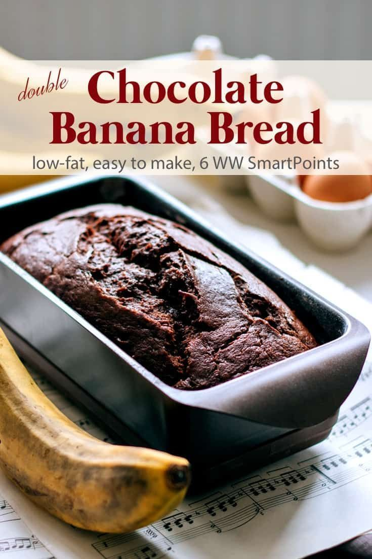 Low Fat Double Chocolate Banana Bread   Simple Nourished Living #bananabread