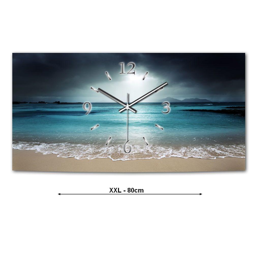 Blue Ocean XXL Designer Wanduhr Modernes Design * Leise Kein Ticken  Schlafzimmer