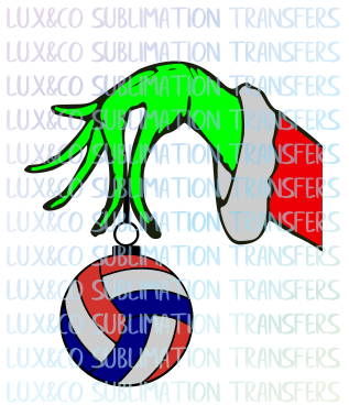 Grinch Hand Ornament Volleyball Christmas Holiday SVG File