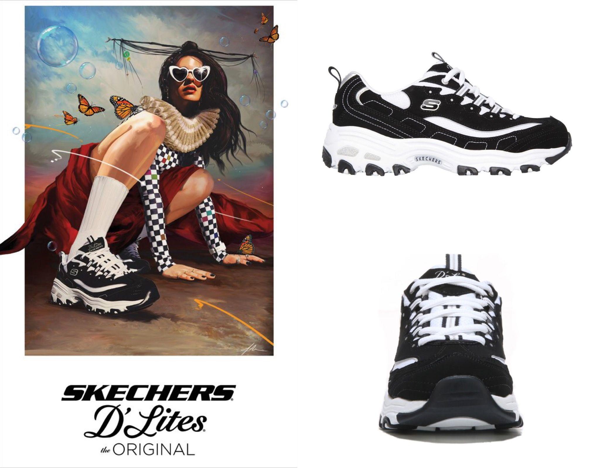Sketchers   Fashion advertising, Skechers d lites, High top