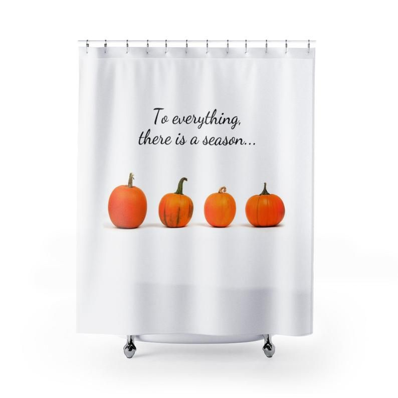 Pumpkin Shower Curtain Fall Shower Curtain Scripture Shower