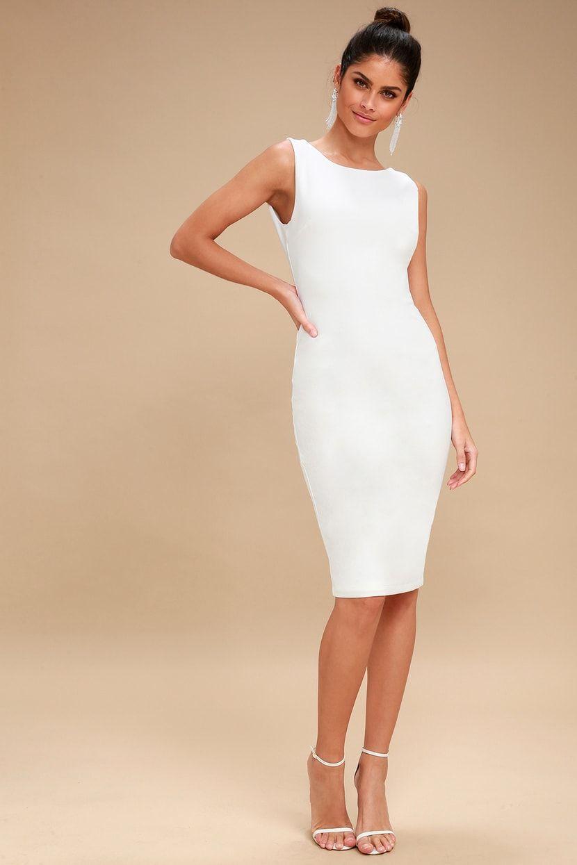 25e335b5 Lulus   So Stunning White Backless Midi Dress   Size Small   100 ...
