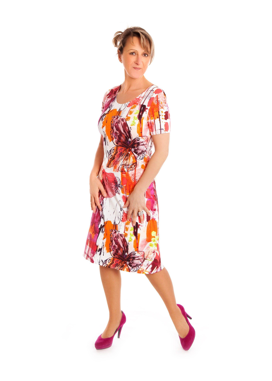 Sommerkleid Bunt Butterfly Jersey Tailliert M L Sommerkleid Modestil Atelier Mode