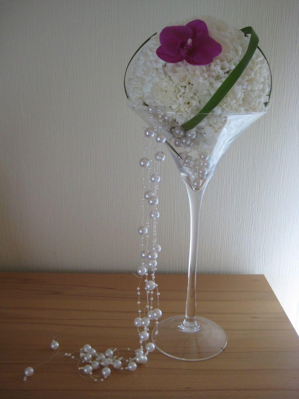 Nelken Martiniglas Kugelgesteck Centerpiece Brautstrauss