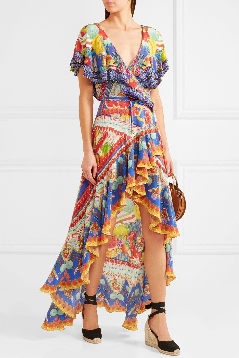 Rio Embellished Printed Silk Crepe De Chine Wrap Dress - Yellow Camilla R8w8jX6h7Y