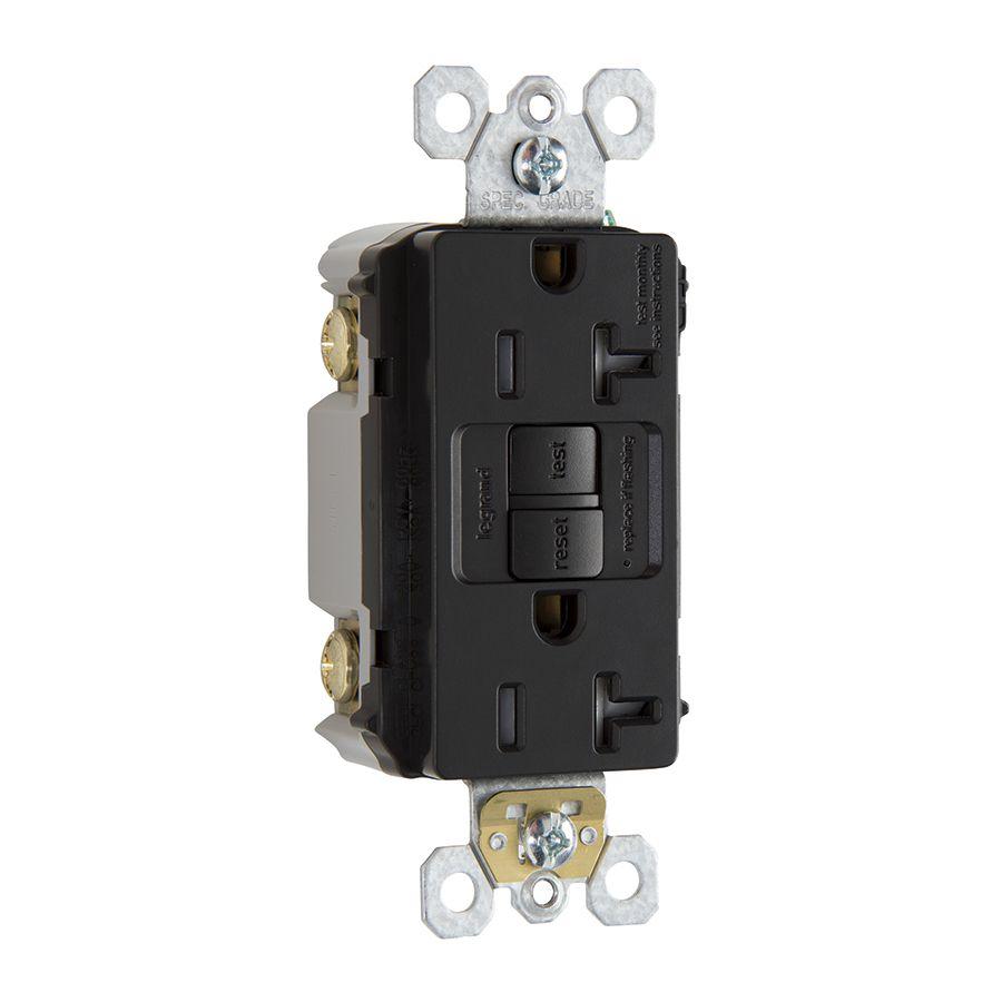 Legrand Radiant 20-Amp 125-Volt Black Indoor GFCI Decorator Wall ...