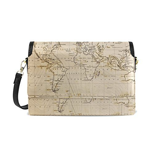 CoolPrintAll Vintage Old World Map Women's PU Leather ... on map shoes, map luggage, map boots, map crossbody, map skirt, map phone case, map jacket, map scarf, map white, map trunk, map suitcase, map wallet, map sweater,