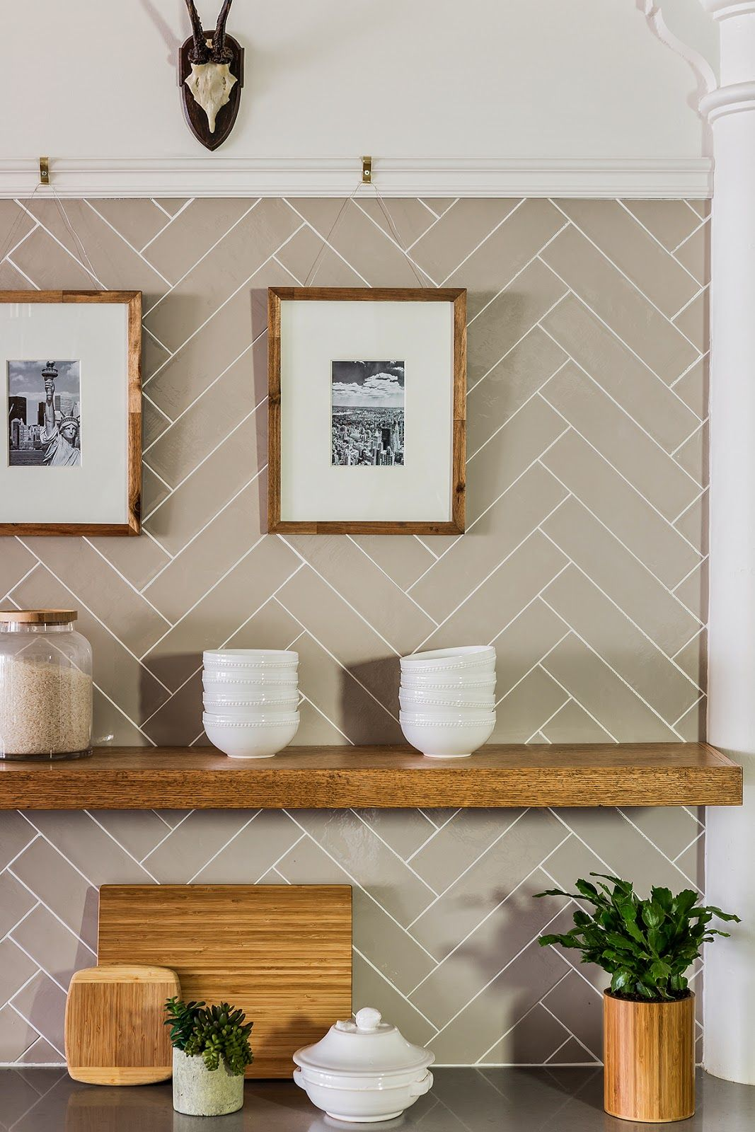 Subway tile in herringbone pattern, floating shelves | Stephanie ...