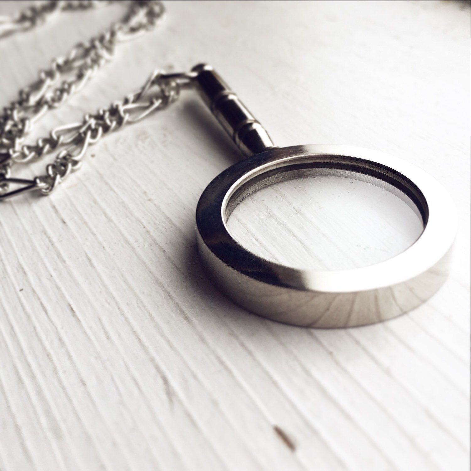 Magnifying glass pendant necklace in antique silver pick your magnifying glass pendant necklace in antique silver pick your length by lydiasvintage on etsy https aloadofball Image collections