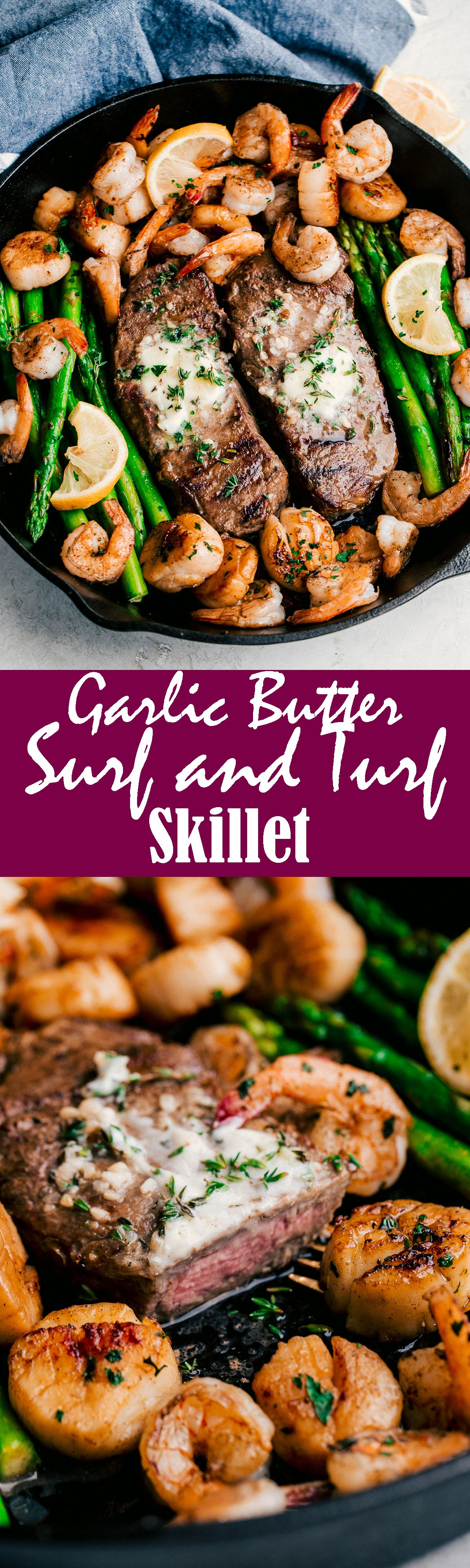Garlic Butter Surf & Turf Skillet. Beef recipes, Cooking