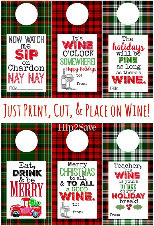 Free Printable Holiday Wine Tags Easy Gift Idea Great Ideas