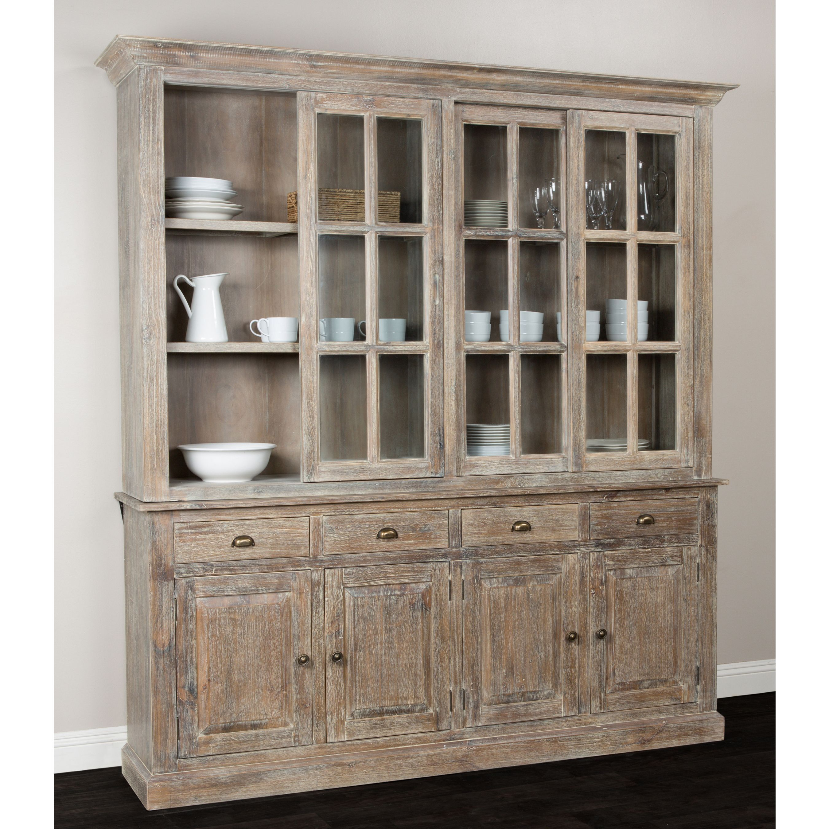 Rockie wood china cabinet by kosas home 4 sliding door cabinet brown