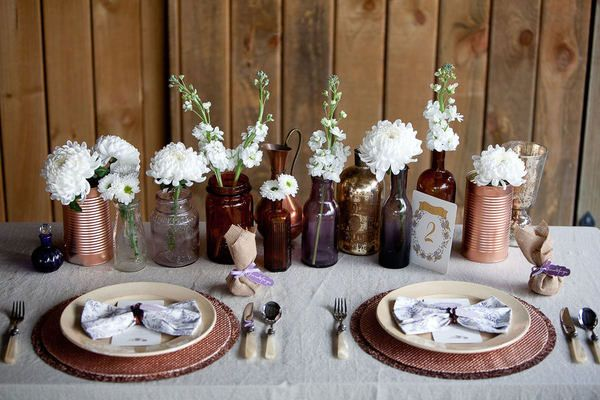 For a fall wedding - Mason jars and glass bottles for a centerpiece? Perfect.