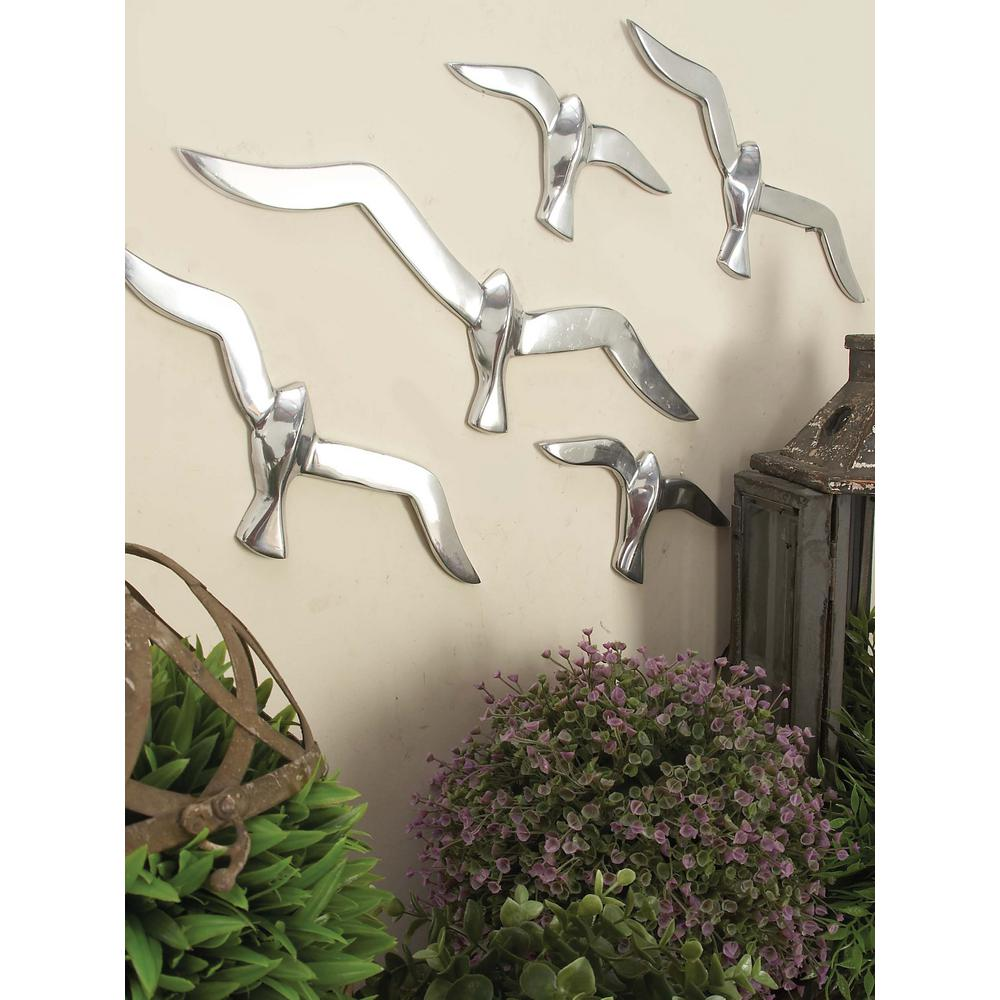 Litton Lane 4 In X 16 In Silver Finish Flock Of Birds Wall Decor