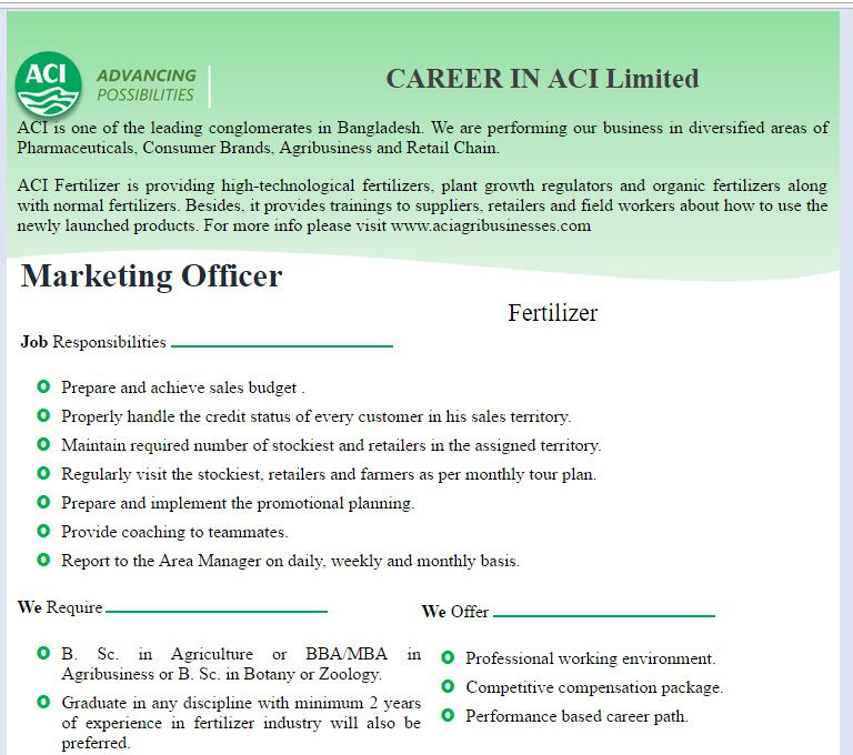 ACI Limited Marketing Officer Job Circular Dec 2016 VACANCY - marketing officer job description
