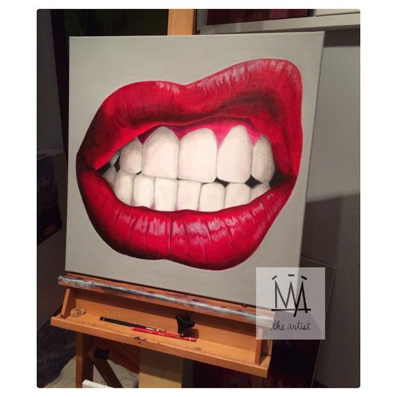 Current Mood By Nya The Artist Red Lips Grr Original Art