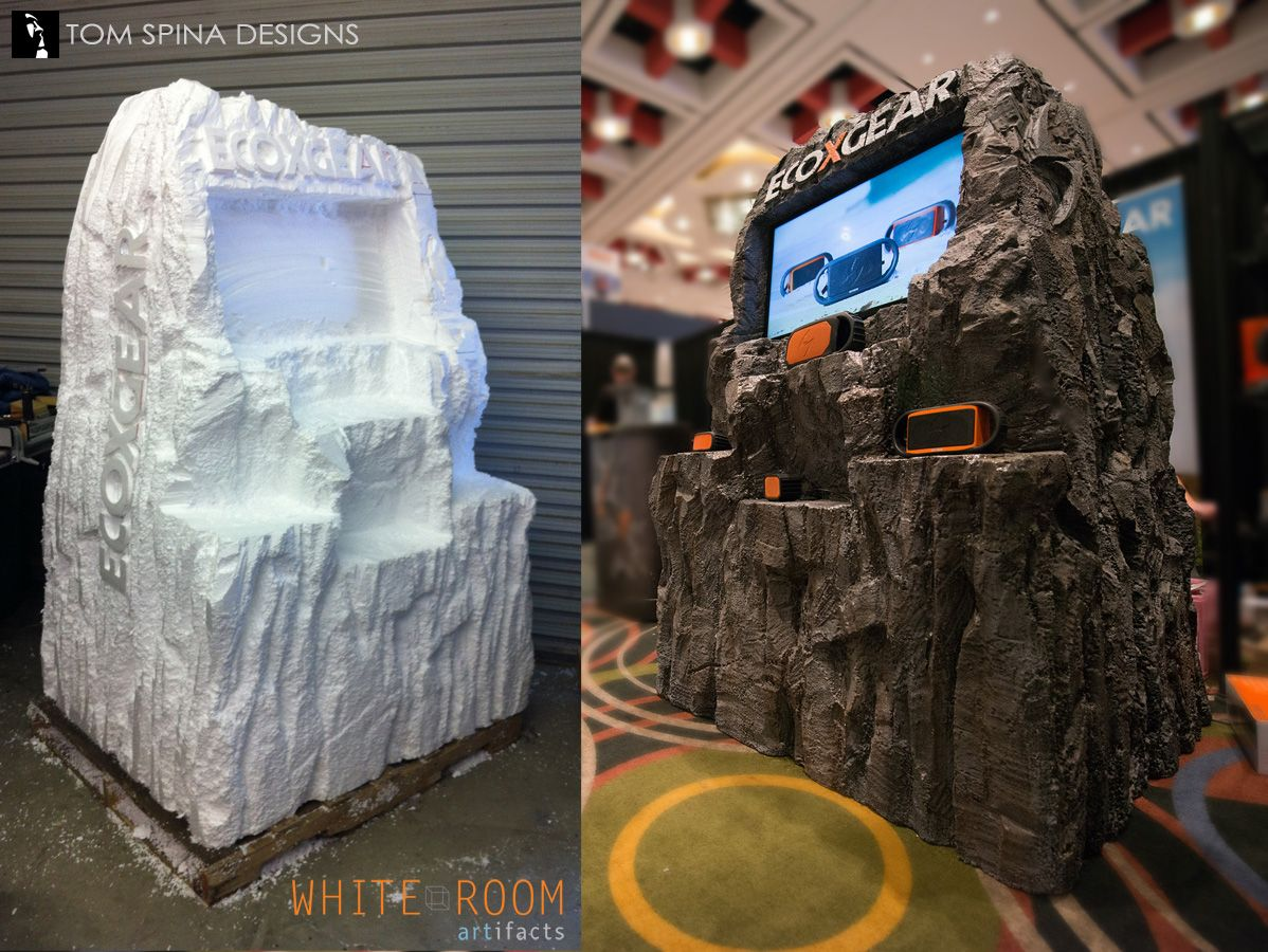 foam trade show booth prop mountain rocks tom spina designs tradeshow booth kiosk design foam carving