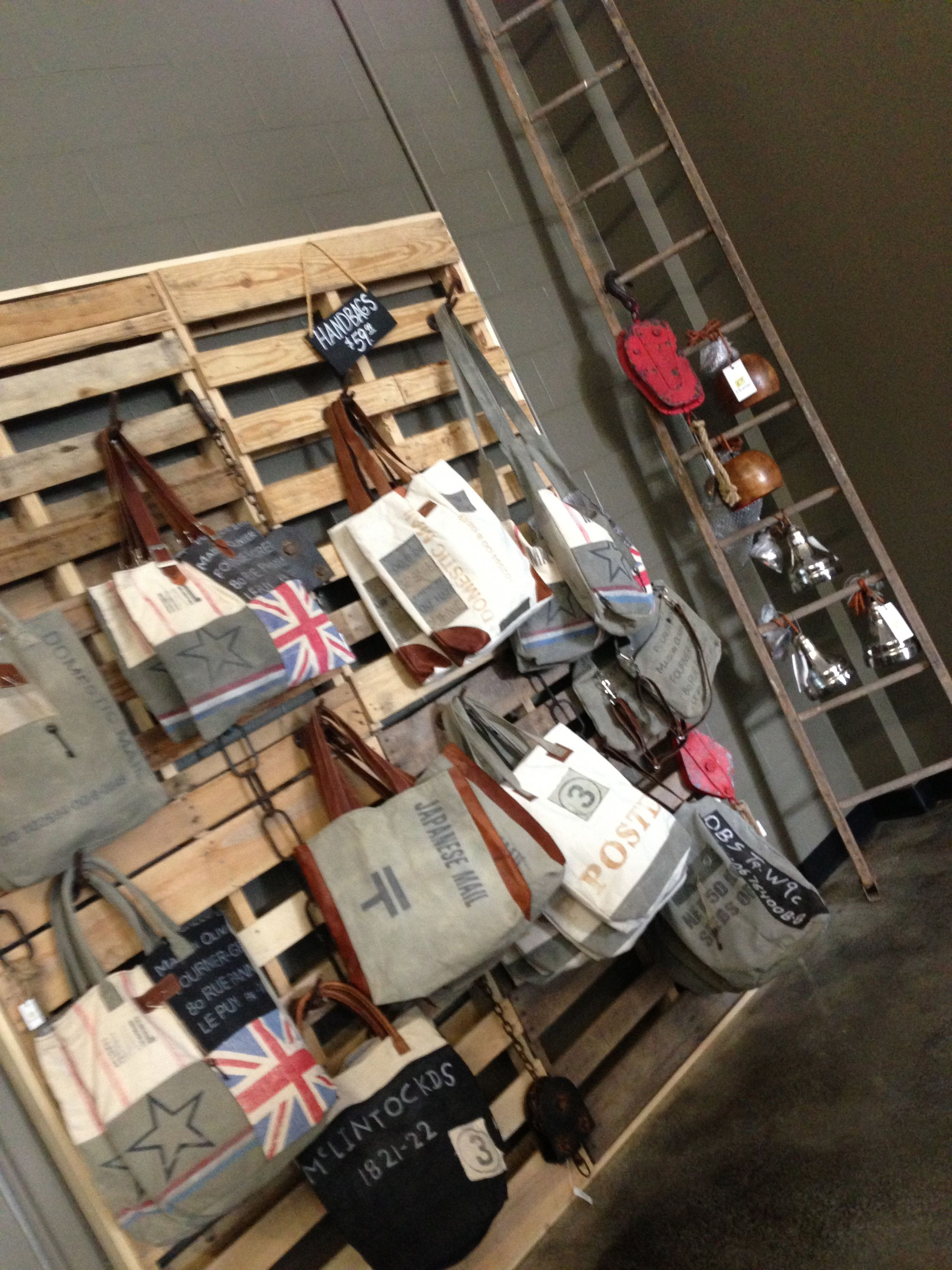 Updated Pallet Wall Retail Handbag Display Added Branch Coat Hooks To Pallets For A Great Framed 4 With 1x2 Boards