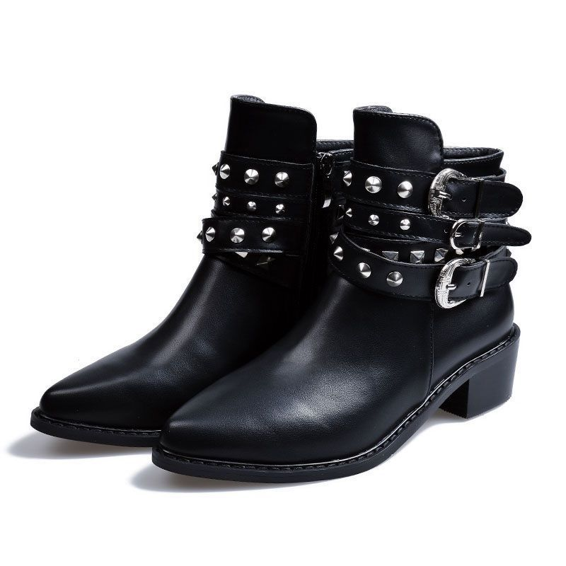 c38249e4156 Fashion Women S Faux Leather Rivet Ankle Boots Mid Heels Casual Buckle Zip  Shoes