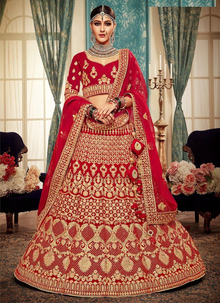 166620dda8 Red Heavy Zari Embroidered & Stones Work Velvet Bridal Lehenga Choli  (Unstitched) #lehenga #lehengas #lehengacholi #bridal #bridallehenga # designer ...