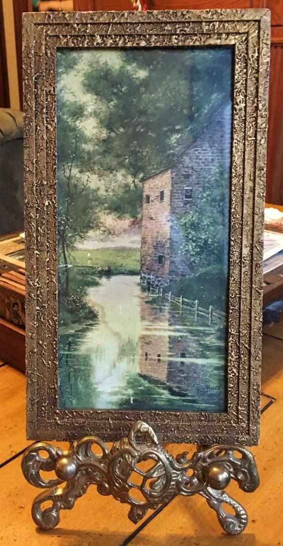 Antique F S Burgy Brick Cottage Lake Scene Water Trees Ornate Gold ...
