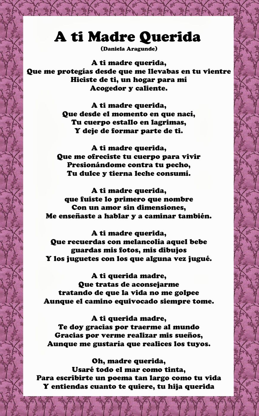 Mothers Day Poems In Spanish Family Birthdays Pinterest
