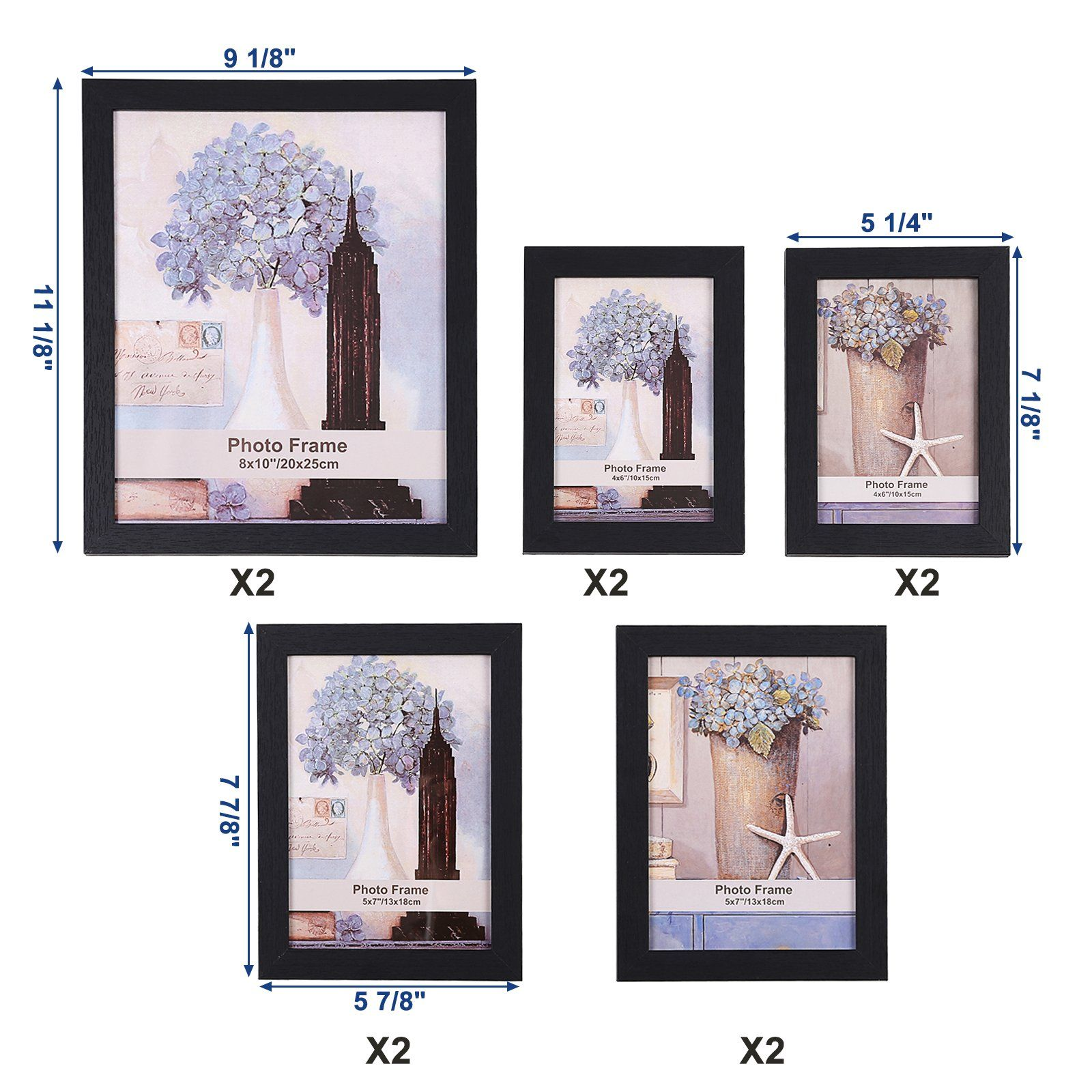 SONGMICS Picture Frames Set of 10 Photo Frame Two 8x10 in Four 5x7 ...