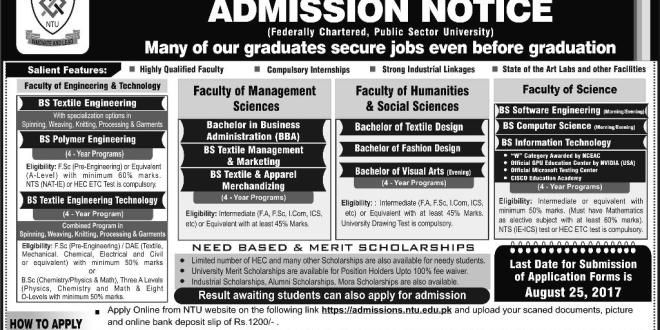 National Textile University FaisalabadNtu Admission
