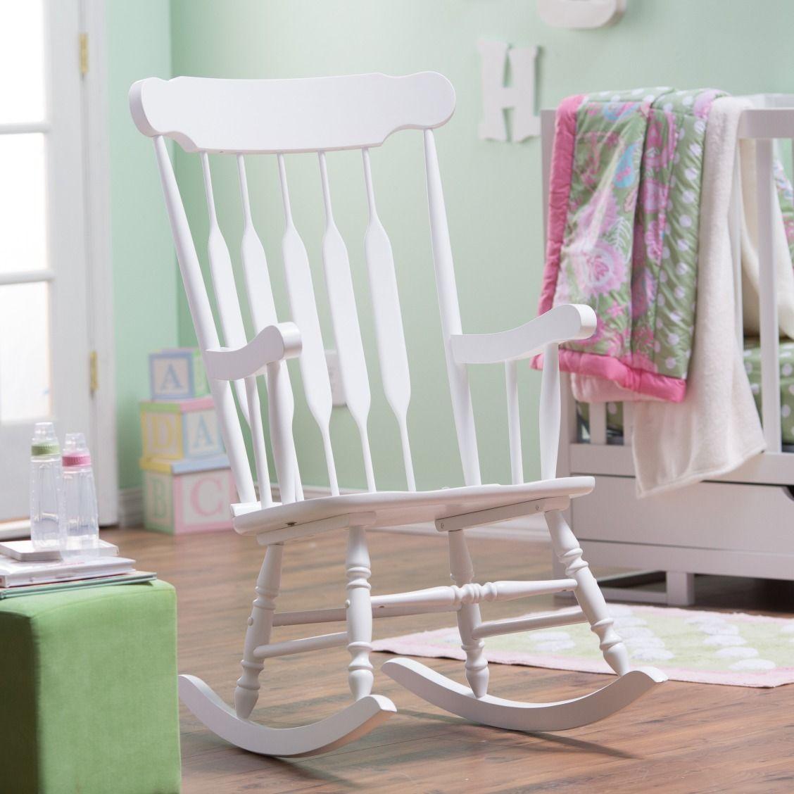 Belham Living Wood Nursery Rocker White Rocking chair