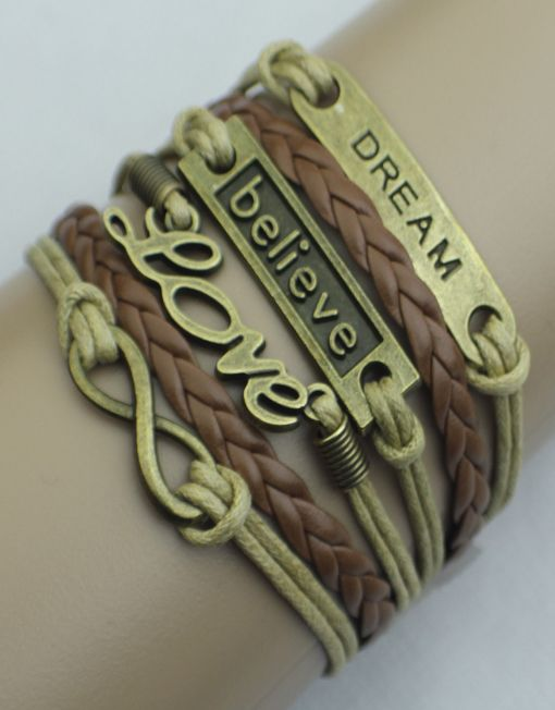 Dream, Believe, Love, Infinity Wrap Bracelet – Brown/Tan  $15.00  Fashion Jewelry at Modest Prices - www.gomodestly.com