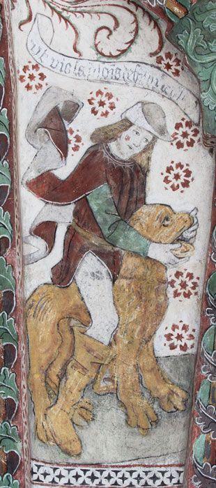 Simson bänder isär lejonets käftar (N) - Odensala kyrka