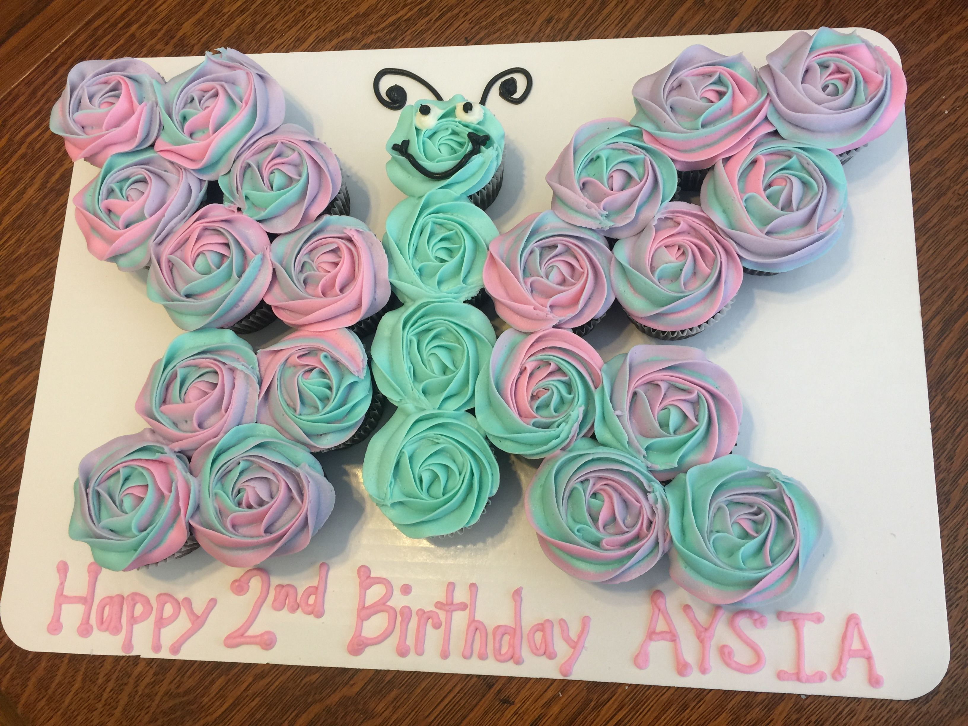 Pink Purple And Teal Swirl Butterfly Cupcake Cake Chocolate Cupcakes With Cream Cheese Fr Butterfly Birthday Cakes Butterfly Cupcakes Butterfly Cupcake Cake