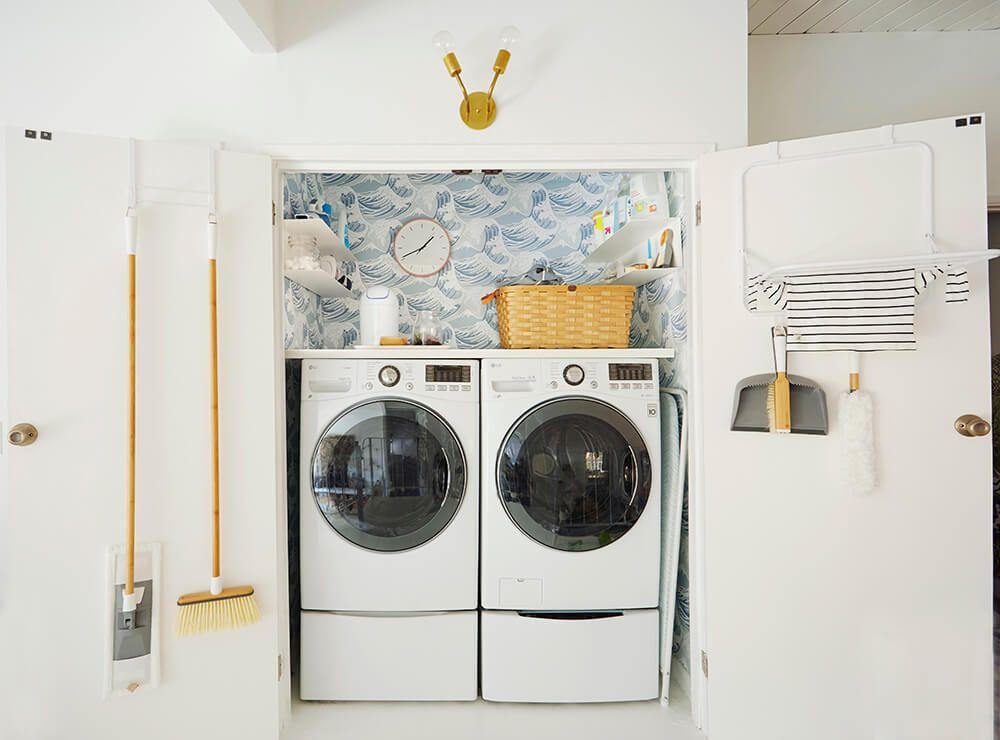 Mid Century Inspired Minimal Laundry Closet Makeover
