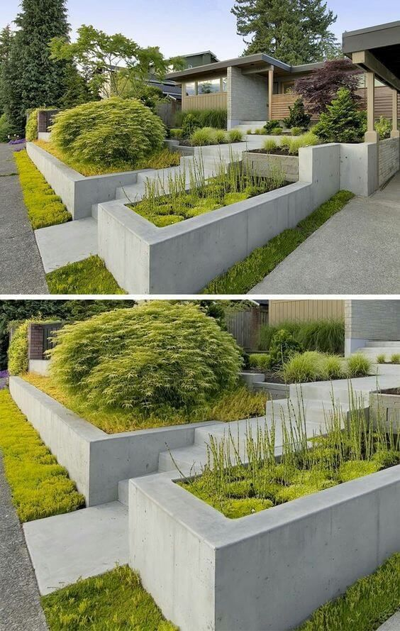 111 Awesome Retaining Wall Ideas Farmfoodfamily Concrete Planters Modern Landscaping Backyard Landscaping