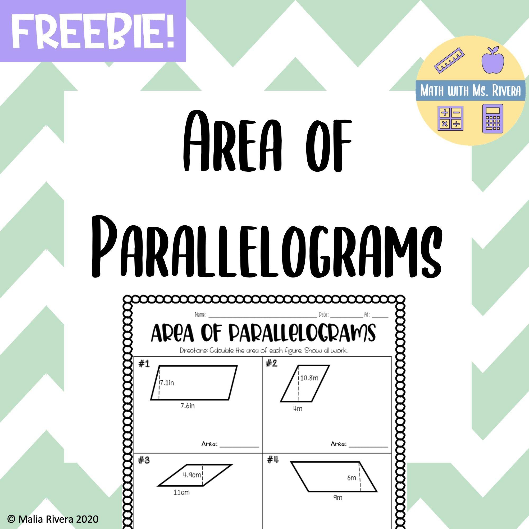Area of Parallelograms Worksheet - FREEBIE in 2020   Worksheets [ 2000 x 2000 Pixel ]