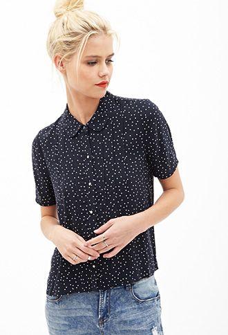Pleated Polka Dot Shirt | FOREVER 21 - 2000137663