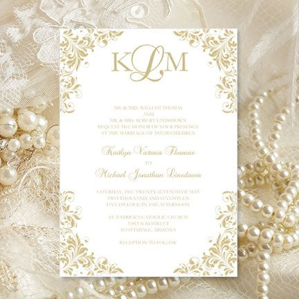 Champagne Wedding Invitations Kaitlyn By Weddingtemplates On Etsy