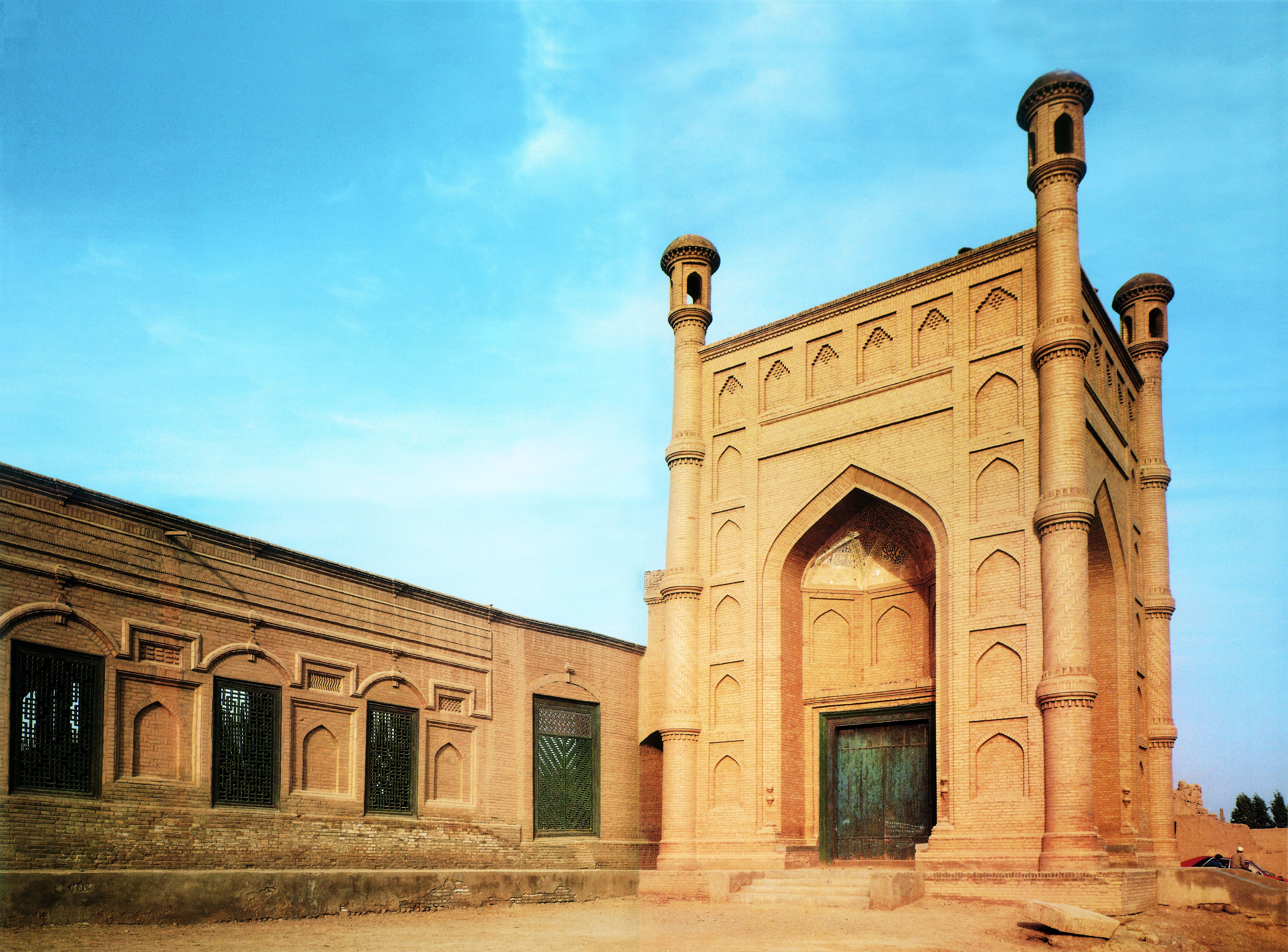 """Exterior view of the Great Mosque in Kuche, Xinjiang. From """"Islamic ..."""