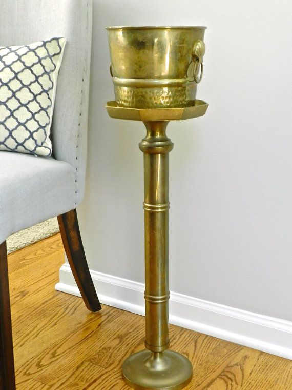 Vintage Brass Champagne Wine Bucket Chiller Holder By