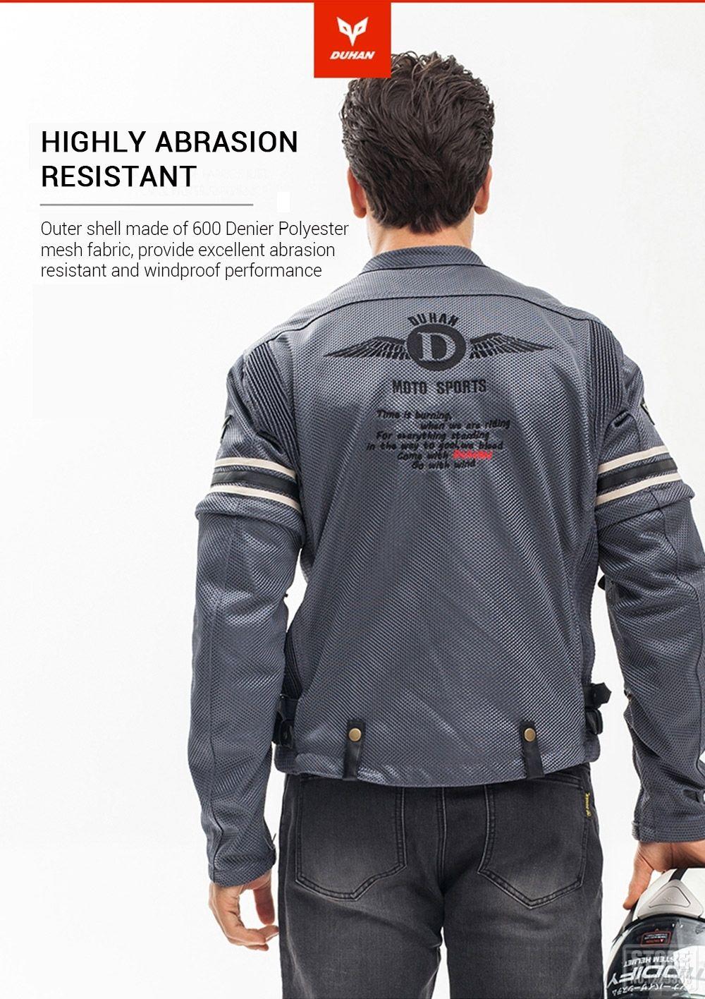 e0683e1e323 DUHAN chaqueta de la motocicleta de los hombres de carreras de malla  transpirable protección extraíble Protector