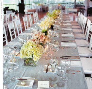 High Quality The Reception Tent Featured Long Rectangular Tables, Square Plates, And Low  Square Vases Filled