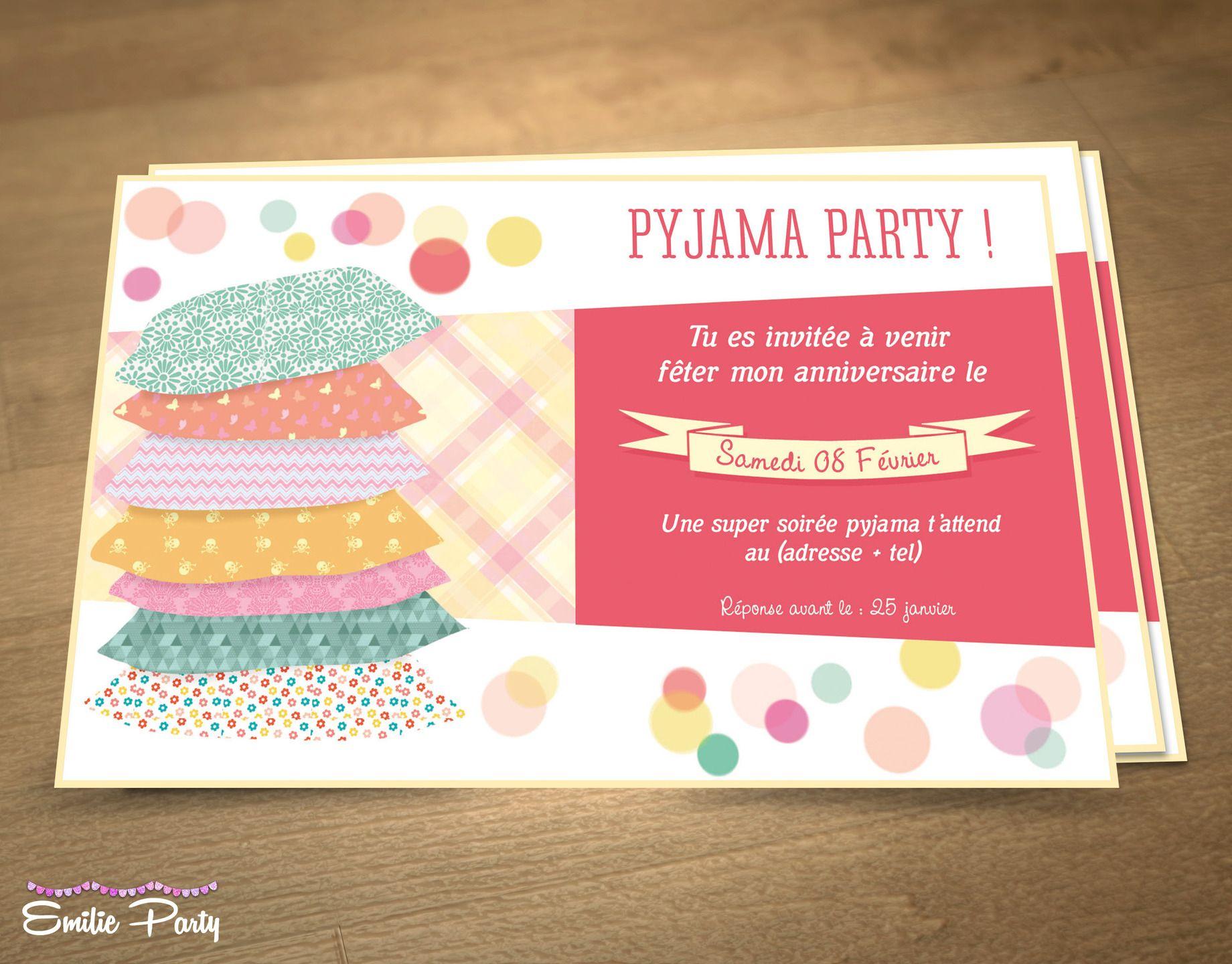 Invitation d' anniversaire sur le thème : Soirée pyjama : Autres papeterie par emilie-part ...