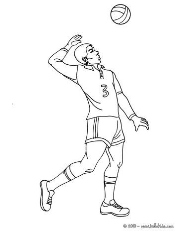 Volleyball Top Spin Serve Coloring Page More Sports Pages On Hellokids